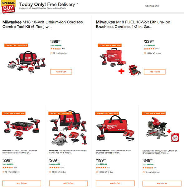 Milwaukee Power Tools and Accessories Deals of the day 10-8-2018 Page 1