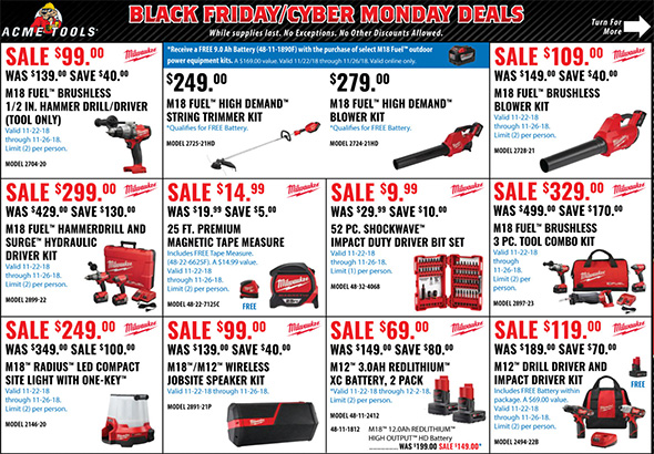 Acme Tools Black Friday 2018 Tool Deals Page 1