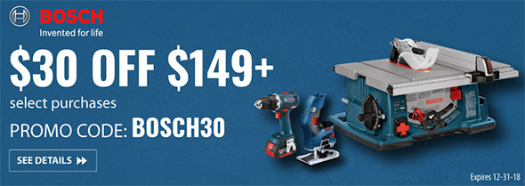 Bosch 30 off $150 Promo Acme Tools Holiday 2018