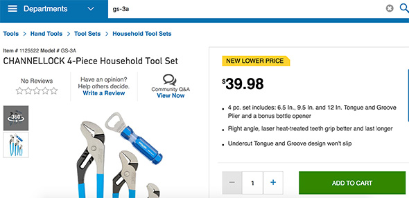 Channellock Pliers Before Deal Pricing at Lowes