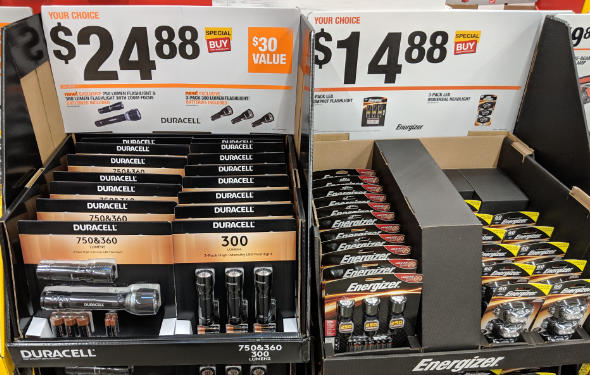 Duracell and Energizer flashlights and headlamps at Home Depot 2018