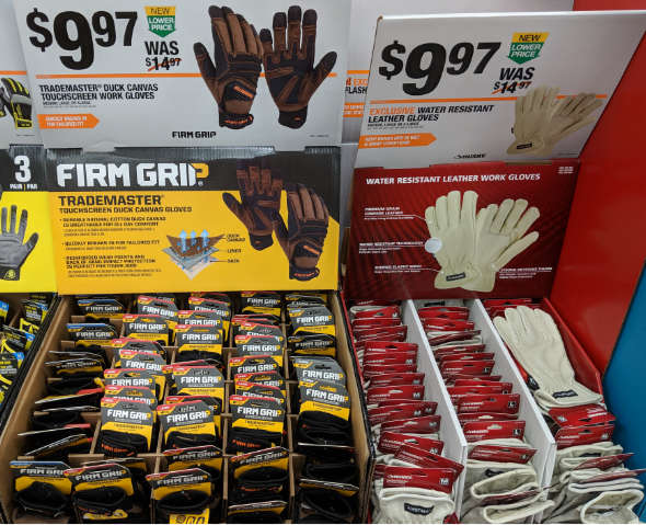 Gloves display Home Depot 2018 holiday season