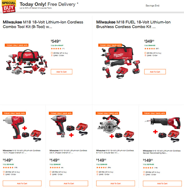 Home Depot Cyber Monday 2018 Milwaukee Tool Deals Page 1