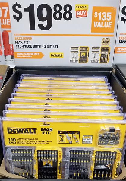 Home Depot Pro Black Friday 2018 Dewalt MaxFit 110pc Screwdriver Bit Set
