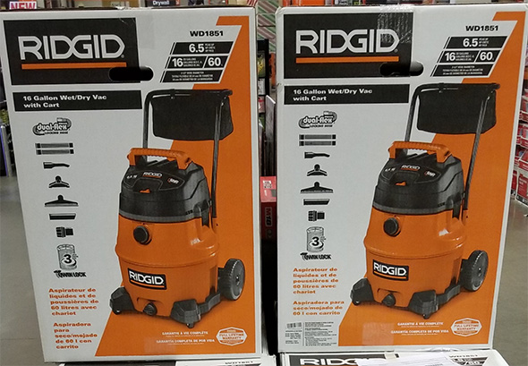 Home Depot Pro Black Friday 2018 Tool Deals Ridgid 16 Gallon Wet Dry Vacuum with Cart