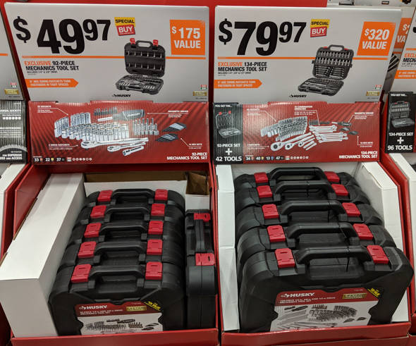 Husky 92 and 134 Piece Toolkit Special Buys