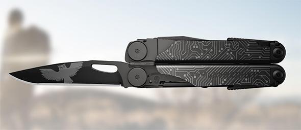 Leatherman Wave Plus Custom Shop Artwork Example on Black Finish Tool