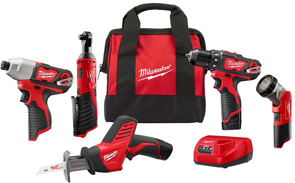 Milwaukee 2498-25 M12 5-Tool Cordless Power Tool Combo Kit