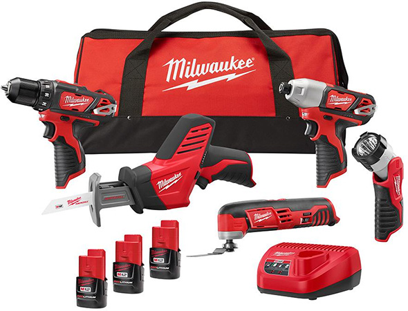 Milwaukee 2499-25P M12 5-Tool Cordless Power Tool Combo Kit