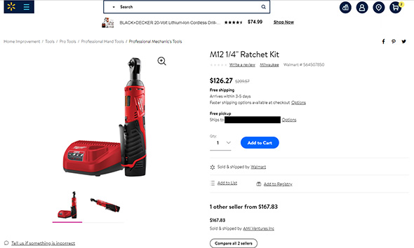 Milwaukee M12 Ratchet Listing at Walmart