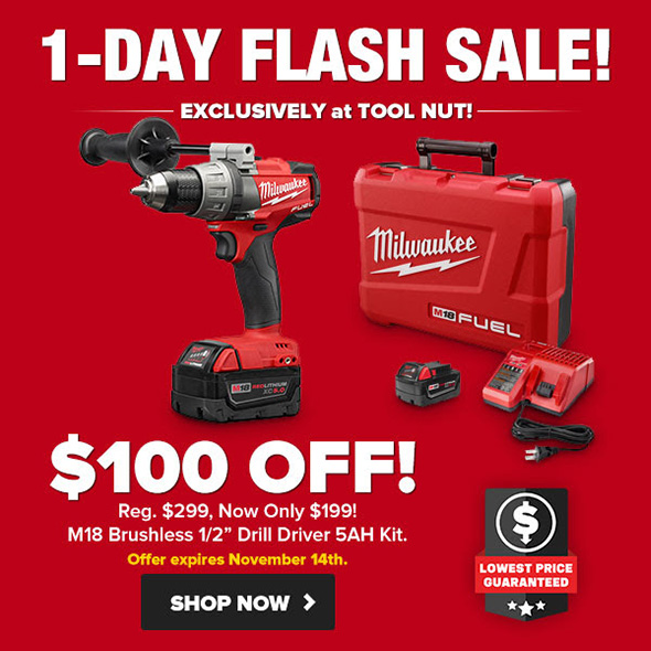 Milwaukee M18 Fuel Cordless Drill Driver Kit Flash Sale 11-14-18