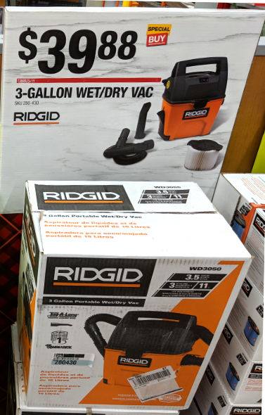 Ridgid Wet and Dry Vaccum Special Buy at Home Depot 2018