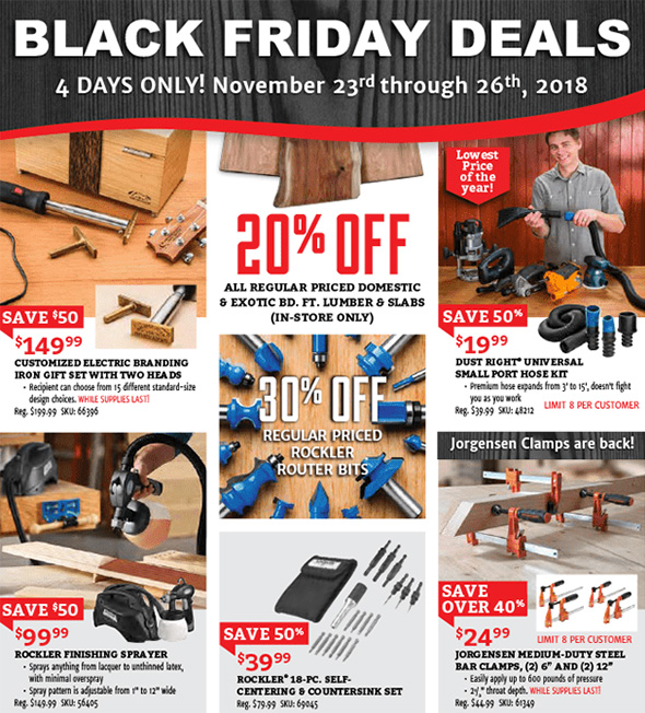 Rockler Black Friday 2018 Tool Deals Page 1