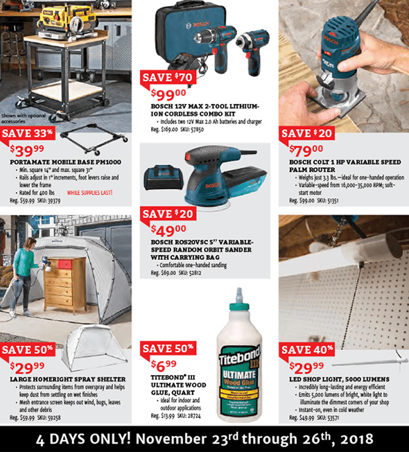 Rockler Black Friday 2018 Tool Deals Page 2