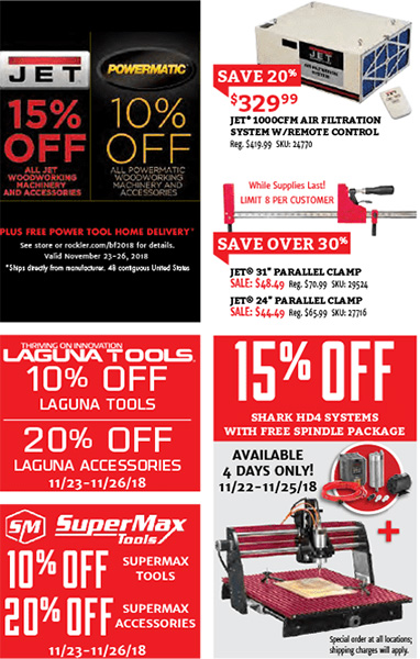 Rockler Black Friday 2018 Tool Deals Page 4
