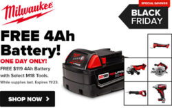 Tool Nut Milwaukee M18 Bare Tool Bonus Battery Deal