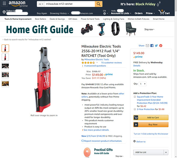 Amazon Milwaukee Ratchet Listing
