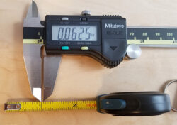Anvil Tape Measure Markings with Calipers Check