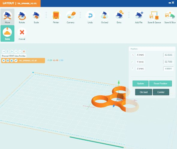Dremel 3D online software Layout Screen