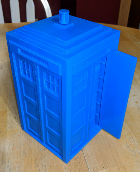 Finished Tardis Print on the Dremel Digilab 3D45