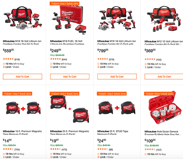 Milwaukee Power Tool Deals at Home Depot 12-24-18
