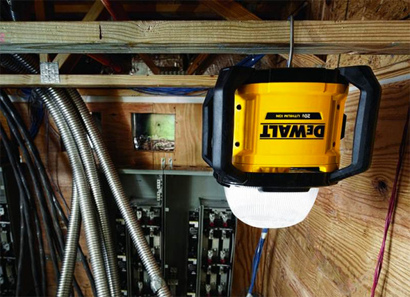 Dewalt DCL074 Cordless LED Area Light Hanging