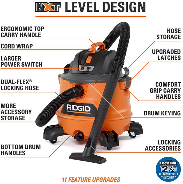 Ridgid 14 gallon NXT Vacuum Features