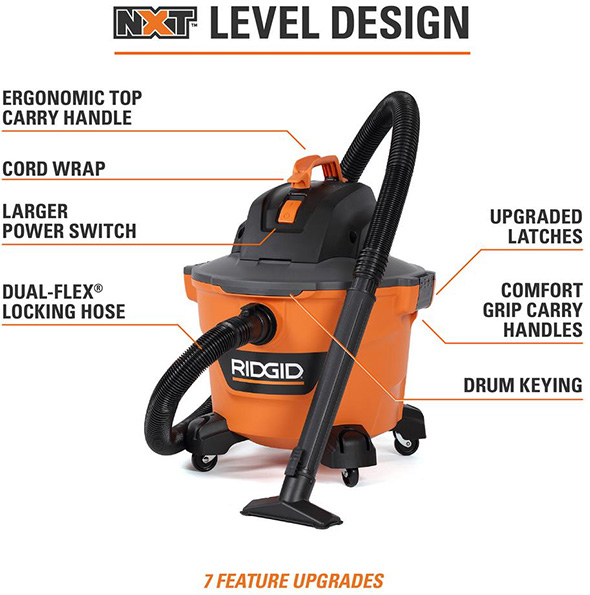 Ridgid NXT 9 Gallon Vacuum Features