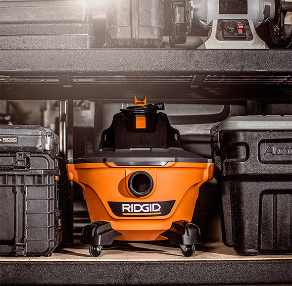 Ridgid NXT Wet Dry Vacuum on a Workshop Shelf