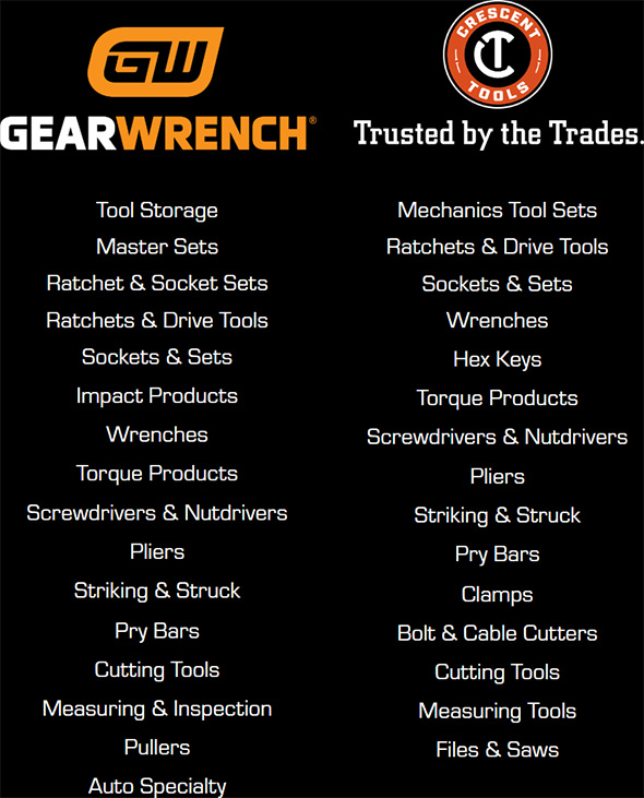 Armstrong Tools to Gearwrench and Crescent Tools Categories