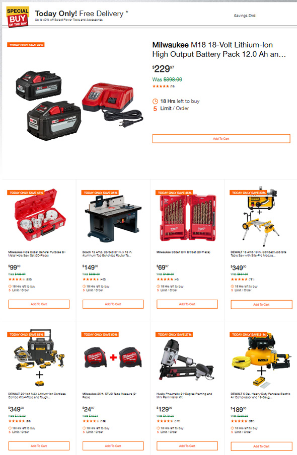 Home Depot Tool Deals of the Day 2-25-2019 Page 1