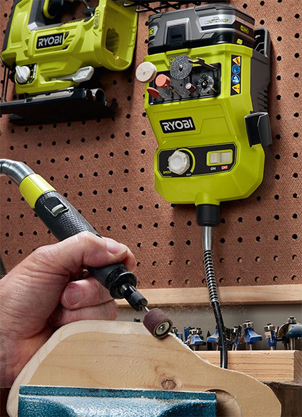 Ryobi Cordless Rotary Tool Station Mounted to Pegboard