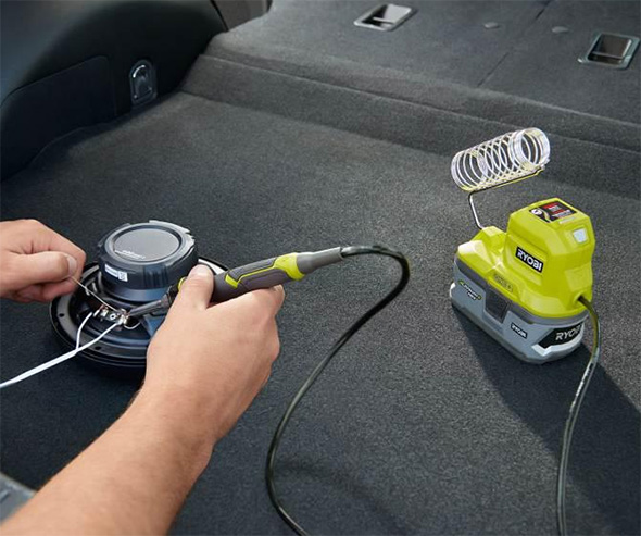 Ryobi Cordless Soldering Iron Used on Car Speaker