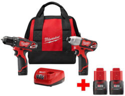 Milwaukee M12 Cordless Drill and Impact Driver Combo Kit with Bonus Batteries