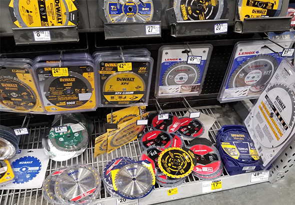 Saw Blade Selection at Lowes March 2019