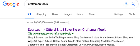 Sears Craftsman Google Search Ad