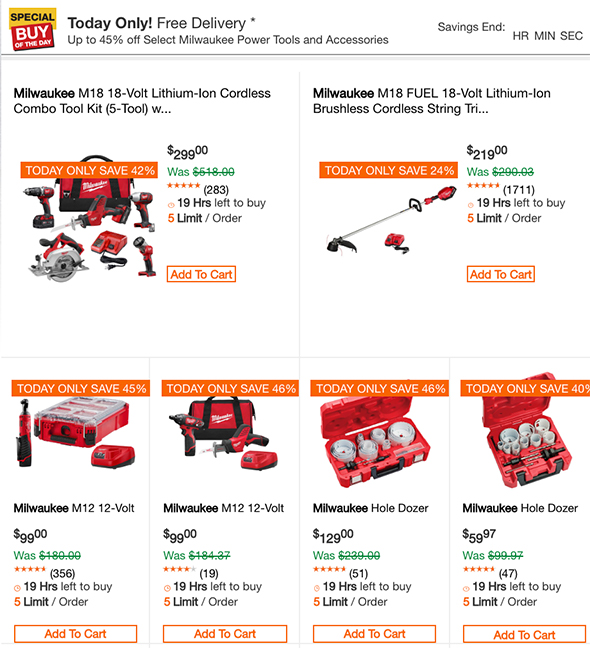 Home Depot Milwaukee Cordless Power Tools Deal of the Day 4-1-2019 Page 1