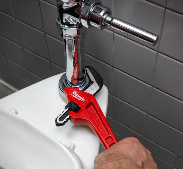 Milwaukee Offset Smooth Jaw Pipe Wrench Used on Plumbing Fitting