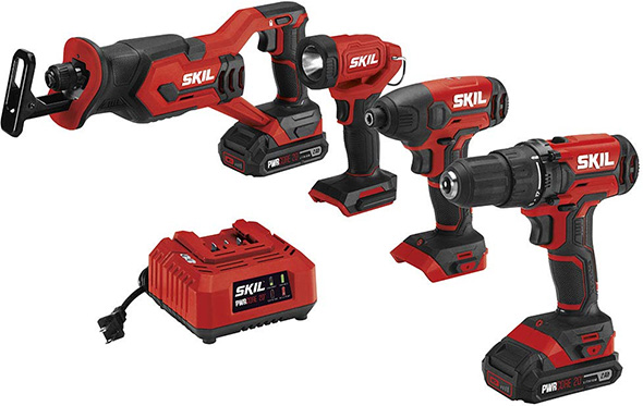 Skil 20V 4-Tool Cordless Power Tool Combo Kit with Drill LED Impact and Sawf