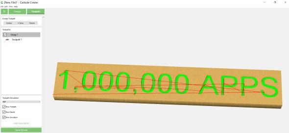 Carbide Create - 1,000,000 plaque simulation