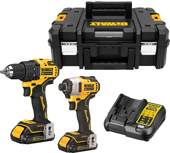 Dewalt Atomic Cordless Drill and Imact Driver Kit with TStak Tool Box Bundle