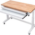 Husky 52in adjustable height table with drawers open