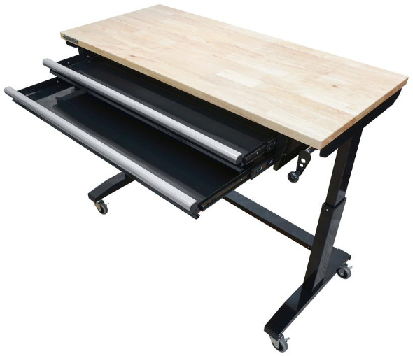 Husky 52in adjustable height table with drawers open in black