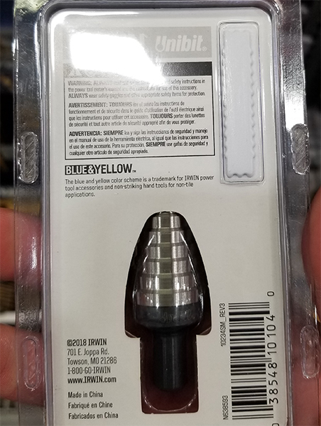 Irwin UniBit Step Drill Bit Rear of Package