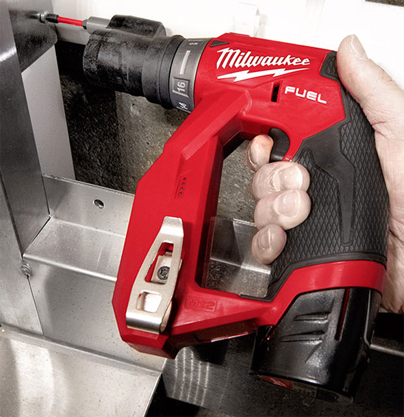 Milwaukee M12 Fuel Cordless Installation Drill Driver Tool with Offset Head Near Obstruction