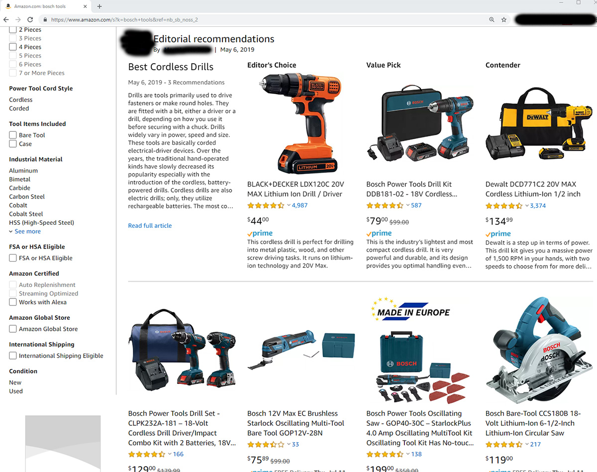 """Amazon is Now Publishing Cordless Power Tool """"Editorial Recommendations"""""""