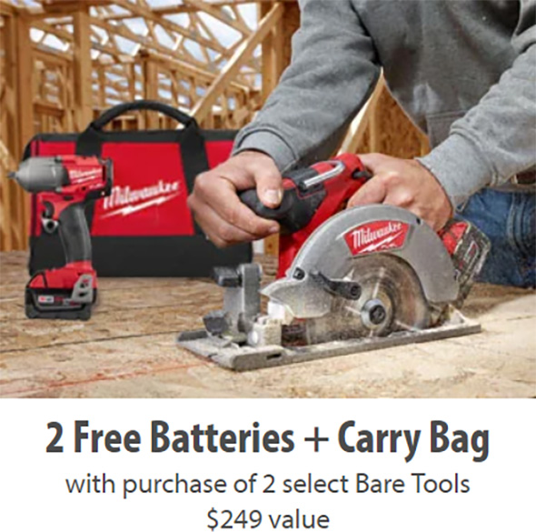 Milwaukee Free Battery Promo with Bare Tools at Acme Tools 7-18-2019