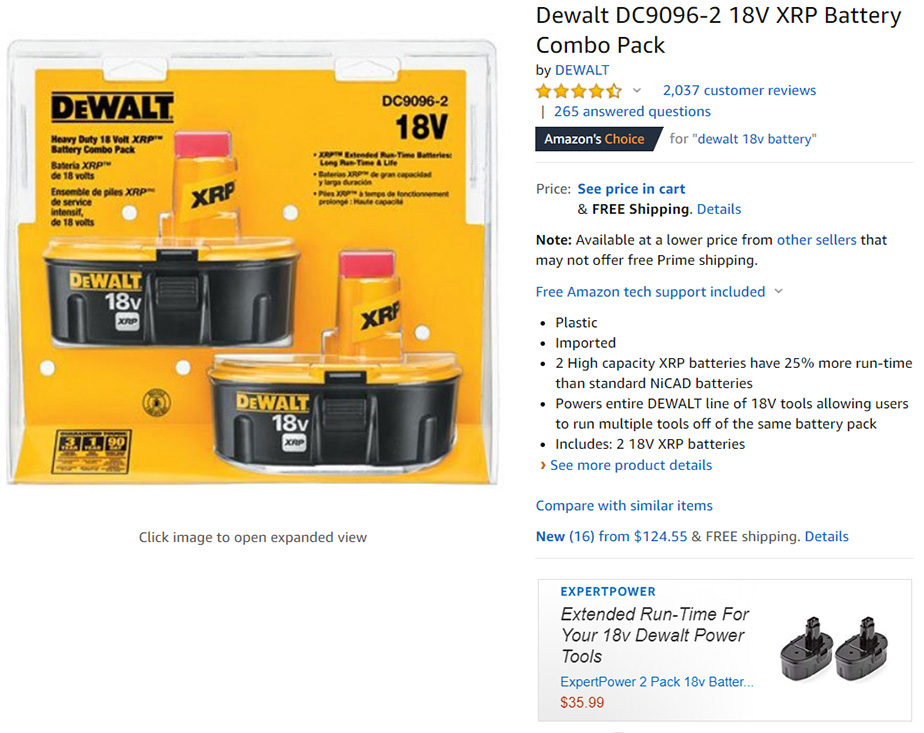 Amazon Dewalt Battery on-Page Advertisement 1-2