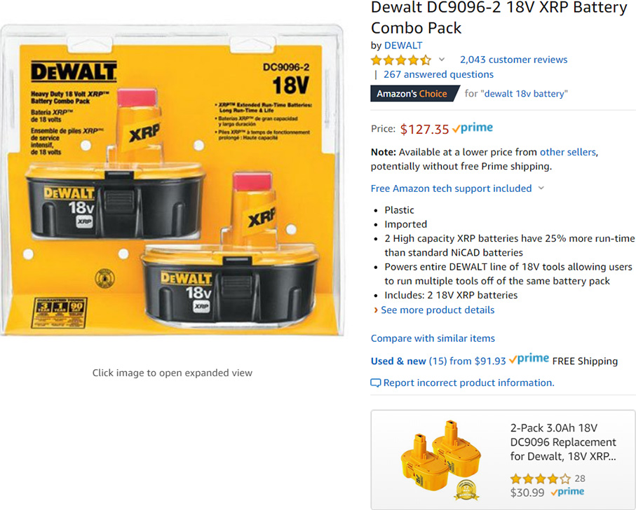 Amazon Dewalt Battery on-Page Advertisement 2