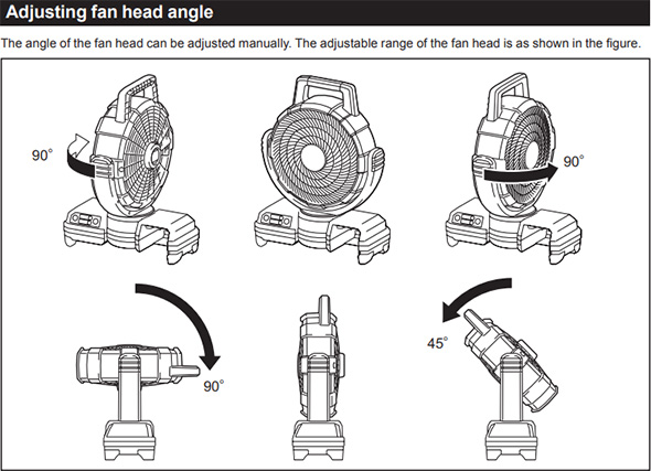 Makita DCF203Z Cordless Oscillating Fan Adjustment Angles